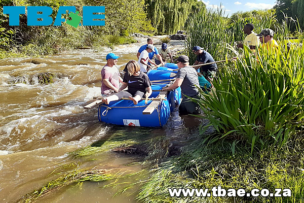 raft building and racing team building event